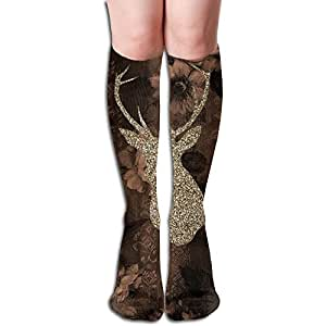 Christmas Deer Women's Printed Light Compression Knee Hi Sock