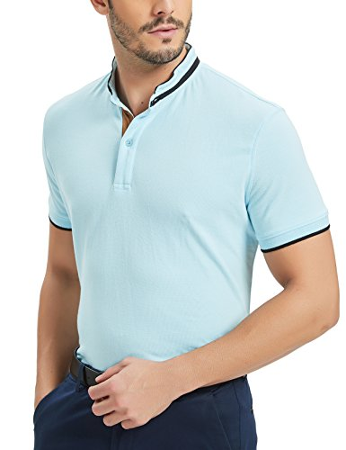 (Navifalcon Polo Shirts Men 100% Cotton Mens Basic Pique Collared T Shirts Casual Slim Fit Light Blue XXL)