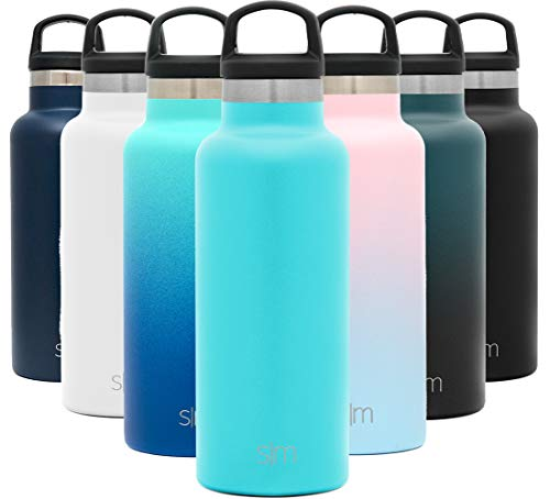 Simple Modern 17oz Ascent Water Bottle - Stainless Steel Flask w/Handle Lid - Teal Hydro Double Wall Tumbler Vacuum Insulated White Small Reusable Metal Leakproof - Caribbean