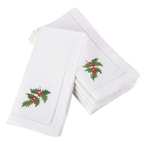 SARO LIFESTYLE Embroidered Holly Leaf Christmas Square