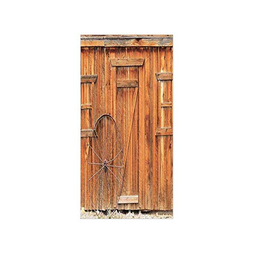 Wagon Door Window - 3D Decorative Film Privacy Window Film No Glue,Western,Ancient West Rural Town Rustic Weathered Wooden Wall Door Wagon Wheel in Front Image,Peru,for Home&Office