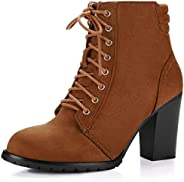 Allegra K Women's Lace up Chunky Heel Ankle Boo
