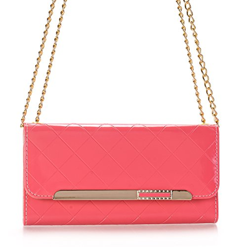 Galaxy S8 Wallet Case, Women Stylish Candy Colour PU Leather Flip Lady Multi Envelope Wristlet Handbag Clutch Wallet Case Stand with Card Slots & ID Holder for Samsung Galaxy S8 5.8 inch(Hot Pink) by TechCode