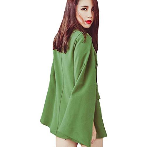 Colore Giaccone Puro Elegante Festivo Fit Con Lunga Poncho Double Ragazza Cappotto Chic Vintage Donna Moda Primaverile Autunno Slim Grün Tasche Stola Capa Breasted Manica RxnvwvFzq