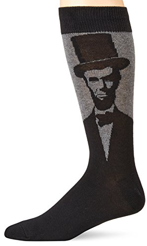 Socksmith Men's Novelty Lincoln Crew Socks, Charcoal Heather, One Size Fits Most(Sock size 10-13 will fit a men's shoe size ()