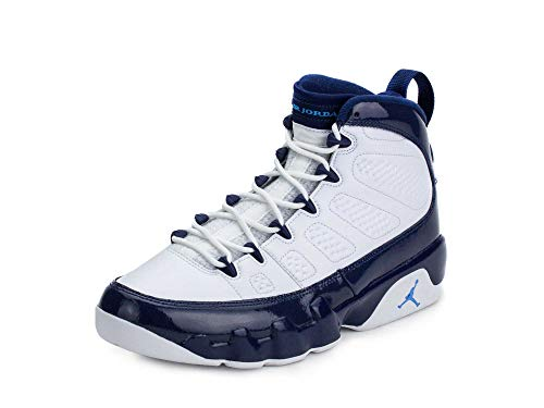Nike Jordan Men's Air Jordan 9 Retro Basketball Shoes (8.5, White/Blue)