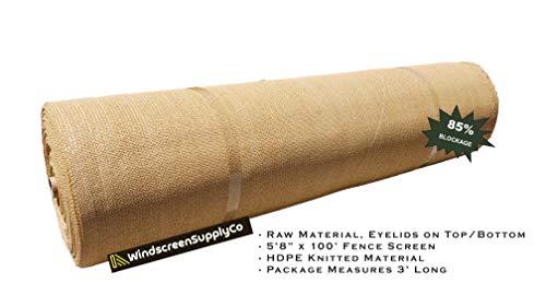 FenceSmart4U (5.8 ft. X 100 ft), Tan Beige 85% UV Block Sun Screen Privacy Screen Windscreen Shade Cloth Mesh Fabric (Raw Roll - No Grommets), Tan