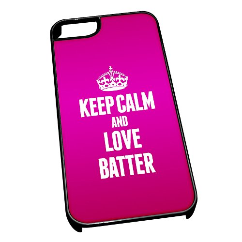 Cover per iPhone 5/5S 0810Rosa Keep Calm And Love Batter