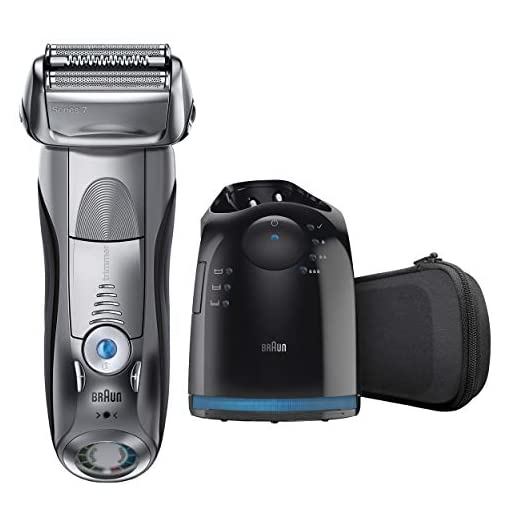 Braun Series 7 790cc-4 Electric Foil Shaver with Clean&Charge Station, 1 Count - 41MrDUrX7uL - Braun Series 7 790cc Electric Razor for Men, Rechargeable and Cordless Electric Shaver, Foil Shaver, Silver, with Clean&Charge Station and Travel Case