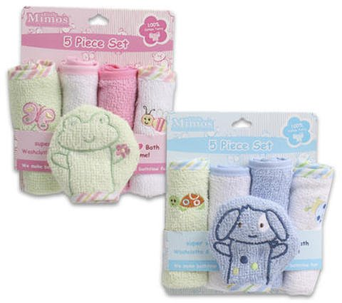 5 Pc Pink & Blue Baby Washcloths Soft Cotton 48 pcs sku# 1458845MA by DDI
