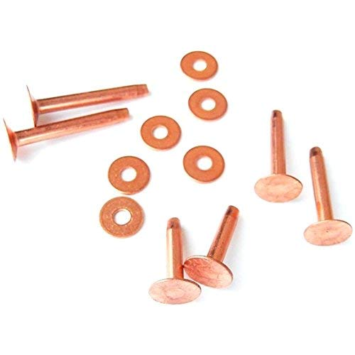 - New Assorted Copper Rivets & Burrs 12 Piece Set By Hill Leather Company