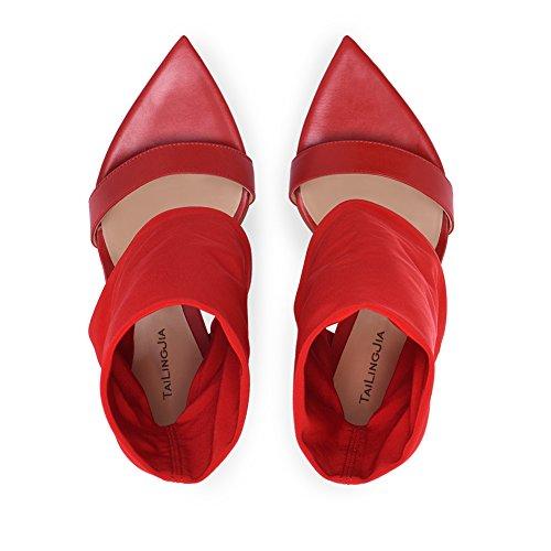 Mei/&S La Mujer Tacones Chunky Tal/ón Zapatos con Plataforma
