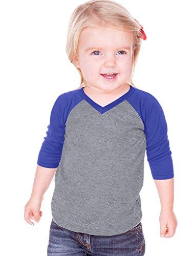 1 Jersey Sleeve - Kavio! Unisex Infants Sheer Jersey Contrast V Neck Raglan 3/4 Sleeve Dark H.Gray/Cobalt Blue 18M