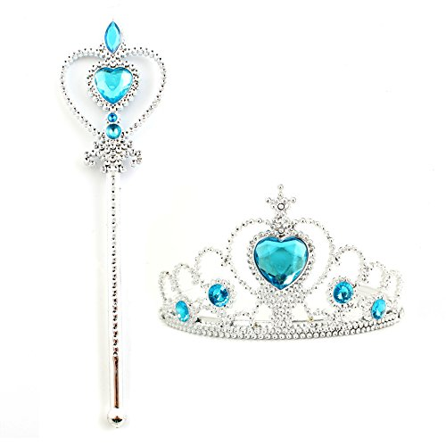 IDS Home Kids Girl Queen Princess Crown and Wand Halloween Cosplay Holiday Party Accessories Gifts