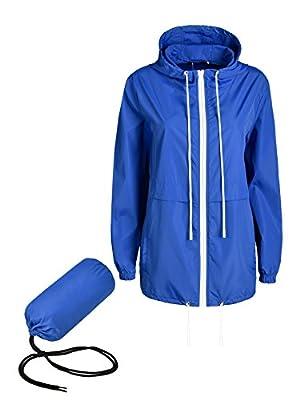 WinSi Women's Waterproof Raincoat Active Outdoor Hooded Rain Jacket Packable Lightweight Windbreaker (S-XXL)