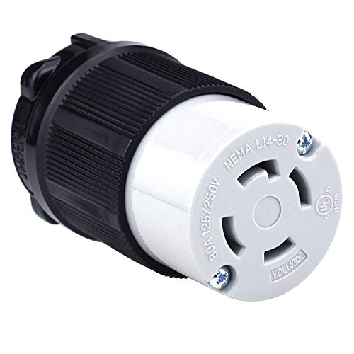 Cllena NEMA L14-30 Female Plug, 3 Pole 4 Wire, 30 Amp 125/250 Volt, 4 Prong Generator Twist Locking Plug Connector ()