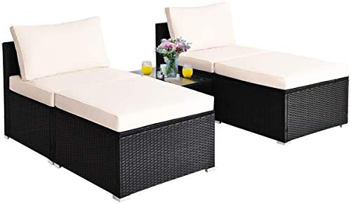 Tangkula 5 Piece Wicker Lounge Chair Set