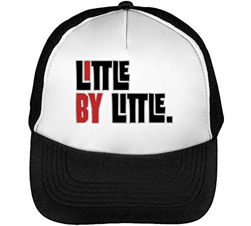 Little By Little Expression Series Small Steps Gorras Hombre Snapback Beisbol Negro Blanco