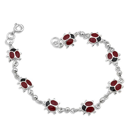 Sterling Silver Ladybug (WithLoveSilver Sterling Silver 925 Red 8 Enamel Ladybugs Link Bracelets 7.5)