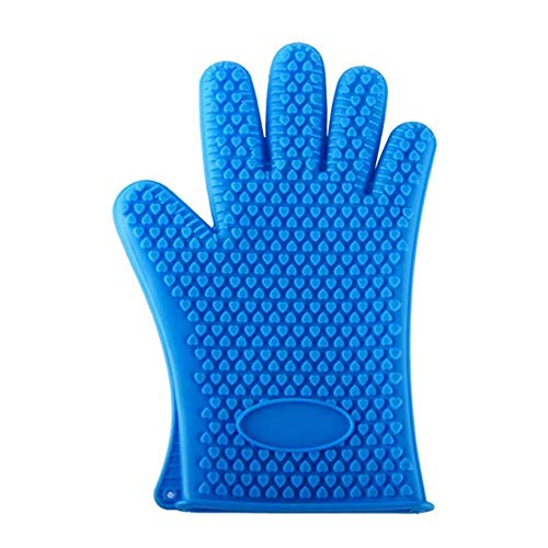 Oudan Professional Silicone BBQ Oven Mitt - Use As Oven Mitts, Pot Holders, Heat Resistant Gloves for Grilling Non-Slip Potholder (Color : Black) (Color : Blue, Size : One Size) (The Best Oven Gloves)