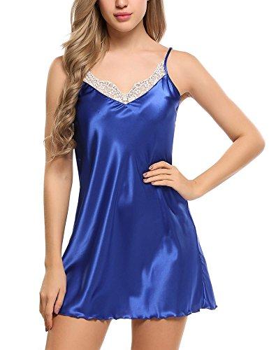 Ekouaer Women's Silk Lingerie Sleepwear Short Nightgown,Blue,Medium