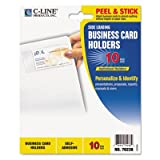 Self-Adhesive Business Card Holders, Side Load, 3-1/2 x 2, Clear, 10/Pack, Total 50 PK, Sold as 1 Carton