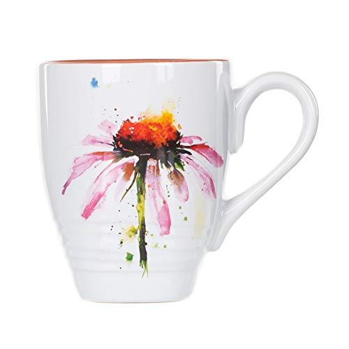 Dean Crouser Echinacea Herbal Floral Watercolor Red 16 ounce Glossy Ceramic Stoneware Mug