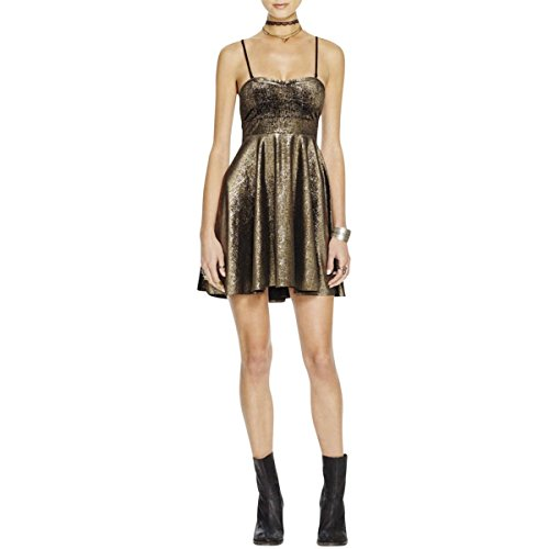 Free People Sparkle - Free People Women's Shattered Removable-Strap Metallic Foil Fit & Flare Dress (Medium, Black/Gold)