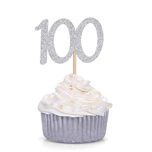 24 CT Silver Glitter Number 100 Cupcake Toppers Baby's 100th Days Celebrating Party Decors