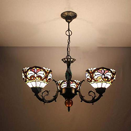 Tiffany Style Chandelier 24 Inch, Purple Black Stripe Pattern Stained Glass Shade Pendant Lights 3 Arms Inverted Ceiling Hanging Lamp for Bar Cafe, - Bronze Stripes White Pendant