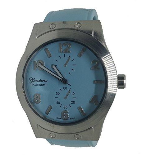 Platinum Bangle Geneva (Womens Light Blue & Silver Bangle Watch)