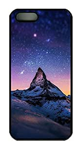 iPhone 5 5S Case Mountains Sky World Beautiful Scenery PC Custom iPhone 5 5S Case Cover Black
