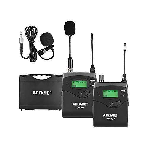 (TPOTOO ACEMIC DV-10 UHF Wireless Transmitter Receiver Microphone Lavalier Lapel Mic Ear-Monitor System 40 Channel LED Display with Hard Case for Cannon Nikon Sony DSLR Camera XLR Camcorder Interview)