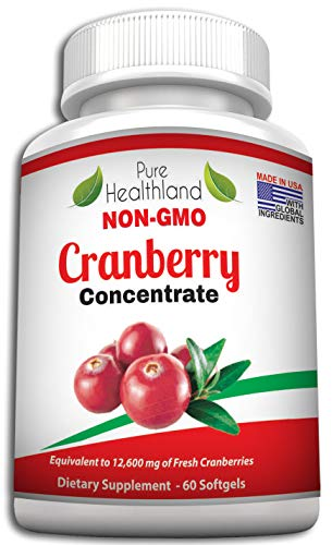 Non GMO Cranberry Concentrate Supplement Pills for Urinary Tract Infection UTI. Equals 12600mg Cranberries. Triple Strength for Men and Women, Easy to Swallow Softgels (Words That Start With Ph For Kids)
