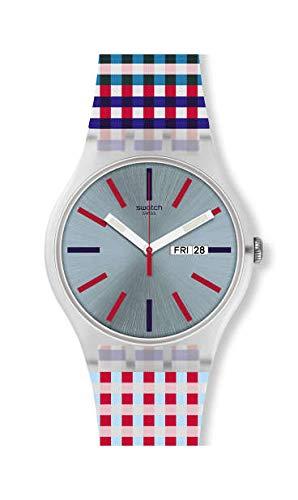 Swatch Reloj Analógico para Unisex Adultos de Cuarzo con Correa en Silicona SUOW709: Amazon.es: Relojes