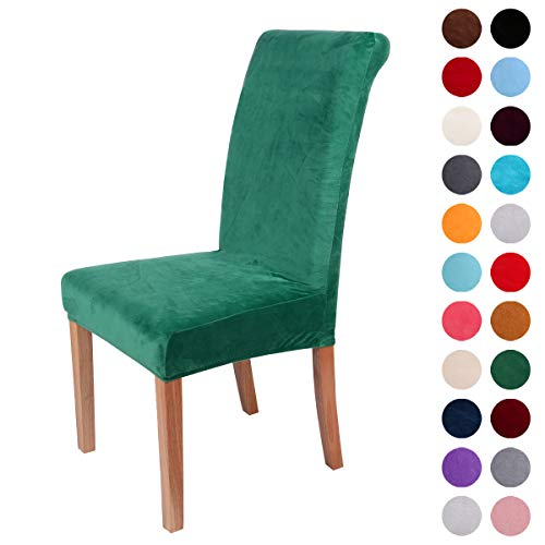 Colorxy Velvet Spandex Fabric Stretch Dining Room Chair Slipcovers Home Decor Set of 4, Dark Green