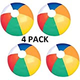 """24"""" Inflatable Beach Ball 4PACK-Ideal for Poolside,Lakes,Beach,BBQ,Camping,Park,Party-Can Be Inflated Via Mouth,Hand Pump, Pressure Pump, etc.Can Be Deflated After Use For Easy/Convenient Storage"""