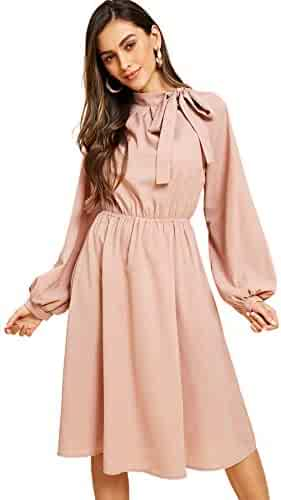 9e45d615050 Romwe Women s Vintage Elegant Tie Neck Lantern Sleeve Pleated Midi Dress