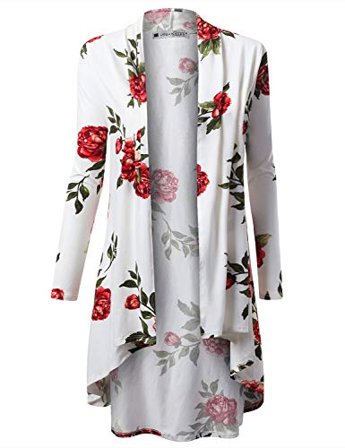 URBANCLEO Womens Floral Hi-Lo Open Front Long Cardigan Ivory, 3XL
