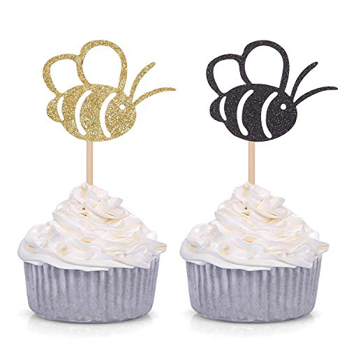 What Will It Bee Gender Reveal Winnie the Pooh Birthday Cupcake Topper Party Decor Black and Yellow 24 Counts