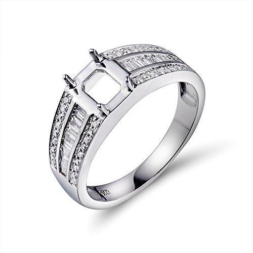 - 5x7mm Emerald Cut 14K White Gold Women's Diamond Semi Mount Ring Set