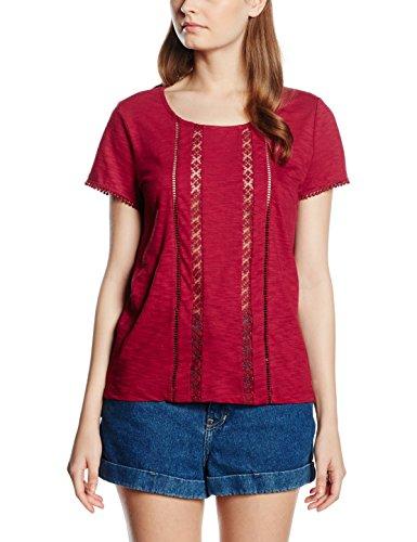 s.Oliver Mit Spitzeneinsätzen, Camiseta para Mujer, Rojo, 40