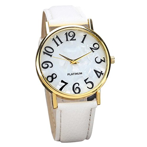 White Ladies Bracelet Watch (Clearance! Womens Wrist Watches, Ladies Fashion Large Face Leather Band Quartz Analog Dress Watch Bracelet (White))