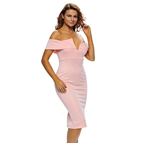 Diamondo Femmes Sexy Cou V Robe Épaules Moulante Chaussettes Hautes (rose) (xl)
