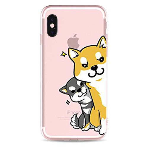 DECO FAIRY Compatible with iPone X / Xs, Cartoon Anime Animated Naughty Dog Spy Happy Puppy Dog Shiba Inu Series Transparent Translucent Flexible Silicone Cover Case