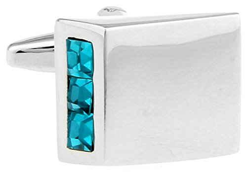 Blue Crystals Aqua Pair Cufflinks in a Presentation Gift Box & Polishing Cloth ()