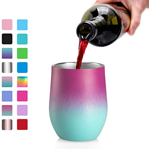 Stainless Steel Wine Glasses Tumbler, Arteesol 12oz Double Insulated Wall Vacuum with Lids Unbreakable Cups - Perfect for Wine,Coffee,Drinks,Champagne,Cocktails (Secret) ()