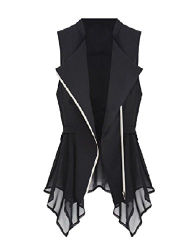 これまでペナルティオーブンVITryst 女性のアンバランスな裾のジッパーベストelegentチョッキブレザー