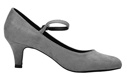 Grey Shoes Party Pumps Strappy Round Ankle Womens Dancing Toe Kitten CAMSSOO Velveteen Heels Wedding Pwq17vFnx5