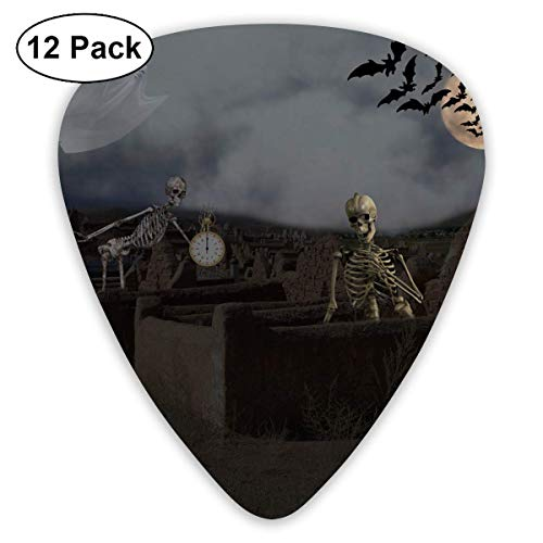 DFNRF Scary Halloween Ghost Skeleton Dead Soul Zombie Party Guitar Pick 0.46mm/0.73mm/0.96mm 12pack,Unique Designs in Assorted Colors